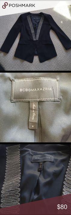 BCBG Maxazria Black Blazer with Beading Black BCBG Maxazria Blazer. Silver beading along V neck trim. Shoulders are structured. BCBGMaxAzria Jackets & Coats Blazers