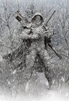 A Ghost by DarkGeometryArt A standard unit part of Arctic Recon & Warfare Corps (ARWF) in The Cyaligiate Universe Cyberpunk, Armor Concept, Concept Art, Fantasy Warrior, Fantasy Art, Airsoft, Character Concept, Character Art, Ronin Samurai