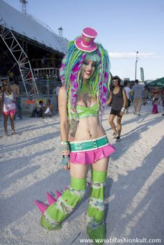 Not dark, but pastel-Goth for sure. Love the top hat and often when you go to venues like Defqon in Australia, they make do with the 100 degree weather.