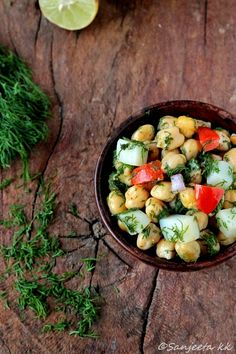 I wish I could dive right into a gigantic bowl of this:  Quick and healthy warm Chickpea & veggie salads with Dill!