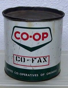 Rare Vintage CO-OP 5lb. grease tin can garage farm  advertising display coop