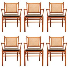 Set of Ole Wanscher Dining Chairs in Mahogany, Denmark, 1940