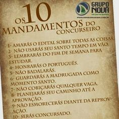 Os 10 mandamentos do Concurseiro...
