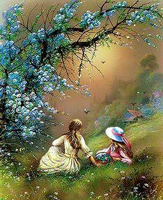 Beautiful Fantasy Art, Beautiful Gif, Beautiful Paintings, Landscape Art, Landscape Paintings, Art Paintings, Kinkade Paintings, Spring Scenery, Flying Flowers
