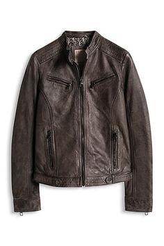 Esprit - Biker-jakke af lækkert læder i Esprits Online-Shop