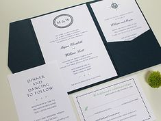 Navy Monogram Wedding Invitation in pocket folder.  www.hobartandhaven.com