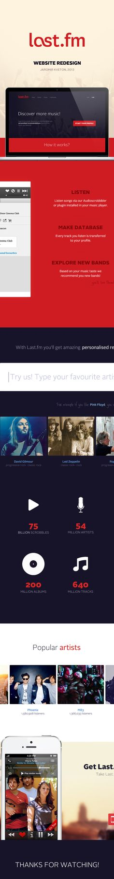 Last.fm redesign by Jaromir Kveton, via Behance