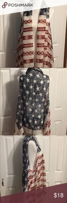 "Flag Scarf Vest The 4th of July is coming so why not get festive with this distressed flag Vest. It can also be used as a coverup. It's 39""x71"" & 100% polyester. ITS ONLY LABLED FREE PEOPLE FOR EXPOSURE. This is a boutique item that's NWOT and packaged. I also carry a flag Scarf 🇺🇸  SAME DAY SHIPPING!!! (I have this Cheaper on Mercari save $2 on the price and shipping is only$4 so save$4.50 total if purchased there) Free People Accessories Scarves & Wraps"
