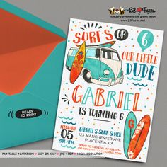 Surf's Up Birthday Photo invitation - Printable Watercolors Summer Surf Birthday Invite - Printable DIY Invitation - Personalized Invite card DIY party printables will save you time and money while making your planning a snap!
