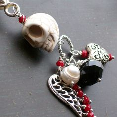 White Sugar Skull Pendant Keychain by VivaGailBeads