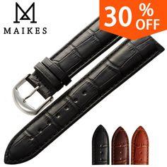 Maikes nuevo producto relojes de pulsera negro brown correas de reloj correa de cuero genuino correa de reloj 18mm 20mm 22mm reloj accesorios