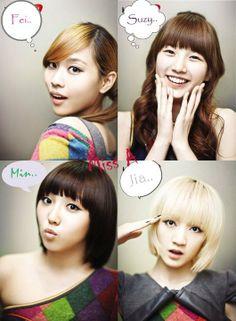 Miss A (loved when jias hair was like that) Kpop Girl Groups, Korean Girl Groups, Kpop Girls, Boy Groups, Miss A Kpop, Victoria Song, Korean Entertainment, Bae Suzy, Jackson Wang