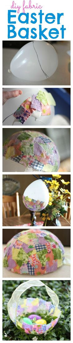 To Make Fabric Easter Baskets Adorable Fabric Collage Easter Basket made with a balloon!Adorable Fabric Collage Easter Basket made with a balloon! Spring Crafts, Holiday Crafts, Holiday Fun, Diy And Crafts, Crafts For Kids, Arts And Crafts, Preschool Crafts, Easter Projects, Craft Projects
