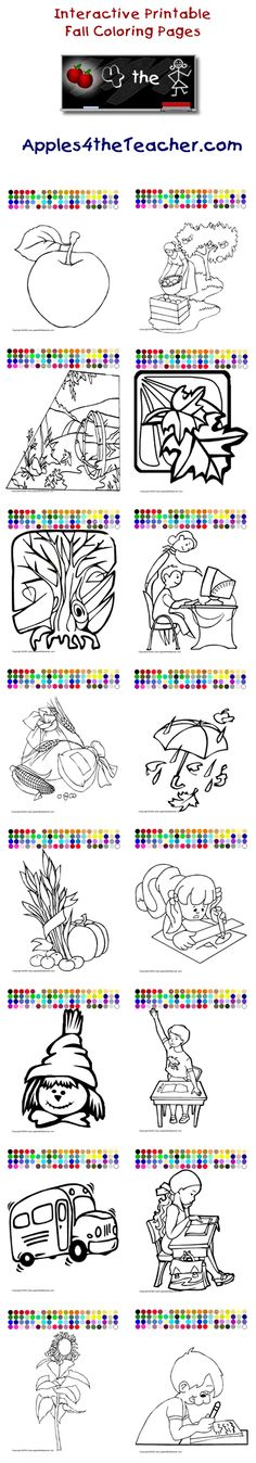 Printable interactive Fall coloring pages, Fall coloring pages for kids   http://www.apples4theteacher.com/coloring-pages/fall/