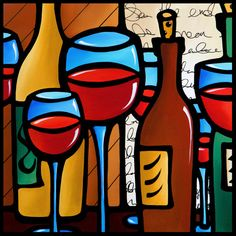 Abstract wine art painting Modern pop color Contemporary by Fidostudio