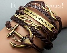 Anchor LoveInfinityMotto Bracelet Brown wax by righteousBracelet, $6.49