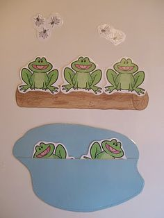 Five Little Speckled Frogs - great for prepositions (on the log, in the pond, etc.) Repinned by SOS Inc. Resources @sostherapy.