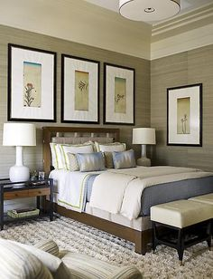 Neutral colour palette with soft blues, great colours for a calming and relaxing room  Bedroom designed by Steven Grambrel