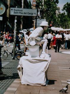 levende standbeelden Ramblas Barcelona 2002