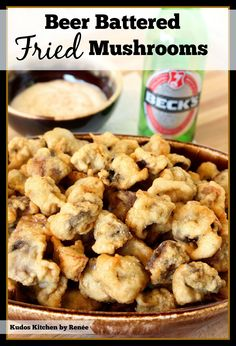 "Kudos Kitchen By Renee: Beer Battered Fried Mushrooms for #SundaySupper ""Man Food"""
