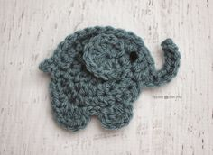 E is for Elephant: Crochet Elephant Applique