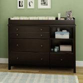 Found it at Wayfair - Little Smileys Changing Table Espresso for boy and white for girl (paint top pink and replace knobs with pink crystals)