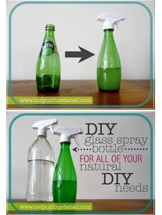No need to buy expensive new glass bottles for your essential oil cleaners- just re-purpose glass bottles you already have.  Apple cider vinegar bottles are my personal pick because we use ACV every day, so we always have empty bottles and this is a great way to reuse them.  click photo to get spray nozzles