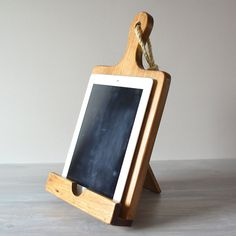 Rustic Wood iPad Stand For The Kitchen, Cutting Board Style