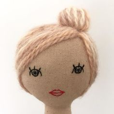 strawberry blonde side bun on top. Inspiration for doll making. Please choose cruelty free vegan materials and supplies