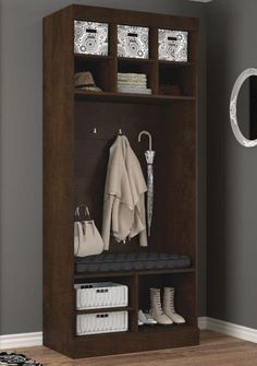 """Bestar's 36"""" Storage cubby with bench is part of the Boutique Collection and offers a great way to organize and sort your space so everything you need is easily accessible. Lose the clutter of endless shoes, jackets, bags and umbrellas and welcome your very own customized storage unit where the only designer is you and everything is at your fingertips!"""