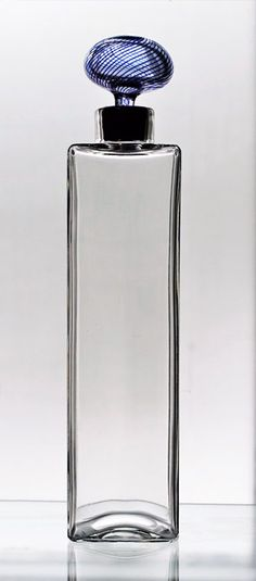 Decanter, by Kaj Franck, Mould-blown smoke-colour glass; Carafe, Decanter, Glass Ceramic, Glass Vase, Bottles And Jars, Perfume Bottles, Glas Art, Glass Design, Flask