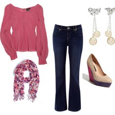 Pink and denim. I love the outfit, minus the shoes.