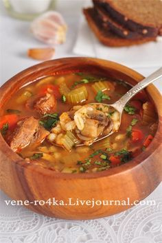 "Meat soup with barley ""Barley"", champignons and vegetables. New Recipes, Soup Recipes, Cooking Recipes, Healthy Recipes, Russian Dishes, Russian Recipes, Saveur, Winter Food, Winter Meals"