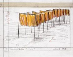The Gates Central Park, Central Park Nyc, Land Art, The Gates Christo, City Collage, Art Intervention, Christo And Jeanne Claude, City Drawing, Whitney Museum