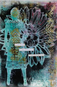 Loving Life art journal page by Michelle Logan, featuring Scrap FX Botanical stencil, Marrakech stencil, star border stamp and number panel stamp. www.scrapfx.com.au