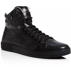 Salvatore Ferragamo Stephen 4 High Top Sneakers (560 CAD) ❤ liked on Polyvore featuring men's fashion, men's shoes, men's sneakers, black, mens black hi top sneakers, mens high top sneakers, mens black sneakers, mens black high top sneakers and mens black shoes