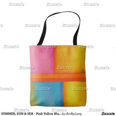 Our Summer tote bags are great for carrying around your school & office work, or other shopping purchases. Unique Bags, Art Store, Blue Abstract, Edge Design, Pink Yellow, Print Design, Reusable Tote Bags, Summer Sun, Sea