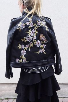I'm obsessed with delicate embroidery details on leather biker jackets - love this contrast!