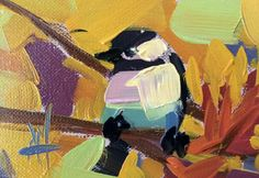Chickadee 898 original bird oil painting Angela Moulton ACEO Art #Impressionism