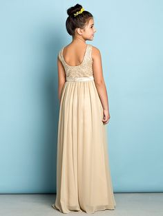 Floor-length Chiffon / Lace Junior Bridesmaid Dress - Champagne A-line Scoop - USD $ 79.99