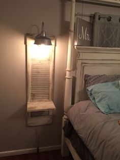 Old shutter turned into a nightstand. Great in a small space. Old shutter turned into a nightstand. Great in a small space. This would also be good for a phone station. Repurposed Furniture, Repurposed Shutters, Diy Furniture Repurpose, My New Room, Home Projects, Farmhouse Decor, Small Spaces, Diy Home Decor, Bedroom Decor
