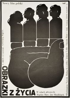 "Movie poster for American comedy ""Obrazki z zycia"", according to novels of Jerzy Kibic. Poster designed by Jakub Erol, 1976."