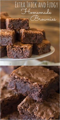 I never knew homemade brownies were so easy to make.  Love how thick and fudgy they are!: