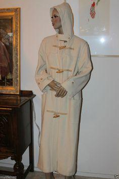 RALPH LAUREN Designer Womens Tan WOOL LONG COAT TOGGLES HOOD Size Medium