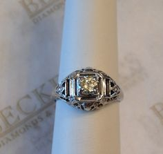 Antique Deco 18k white gold Old European Cut by BeckersJewelersCT