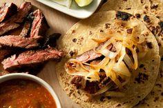 Chipotle Beef Tacos with Caramelized Onions (Tacos de Carne Asada Enchipotlada)