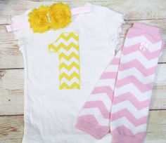Pink and Yellow CHEVRON Birthday 1 Outfit for by RightUpYourAli1