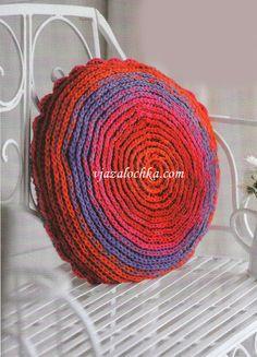 Круглая подушка - вязание крючком