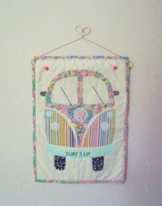 Handmade VW Camper Van Appliqued Wall Hanging by Fabrilushus, £28.00