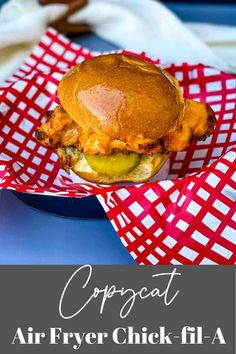 This Air Fryer Chicken Sandwich (Chick-fil-A Copycat) recipe is the best homemade meal the whole family will love! The chicken is brined in pickle juice and buttermilk, which produces tender and juicy chicken with a crispy breading. Add in cayenne pepper and fresh veggies for the spicy deluxe! #AirFryerChicken Spicy Chicken Sandwiches, Chicken Sandwich Recipes, Chicken Thigh Recipes, Wrap Sandwiches, Vegan Sandwiches, Air Frier Recipes, Air Fryer Dinner Recipes, Copycat Recipes, Cooking Recipes